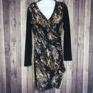 Forever 21 abstract long sleeve faux wrap dress